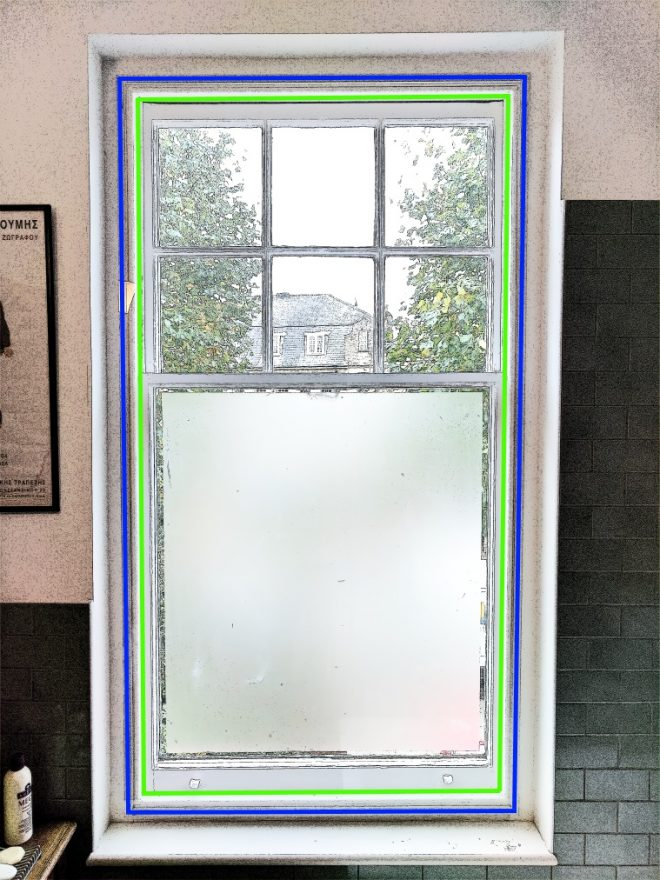 Sash Window showing possible mounting positions of a WindowSkin